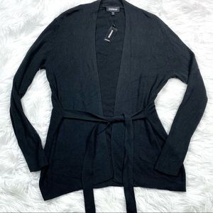 Express New Belted Cardigan Sweater Wrap Black